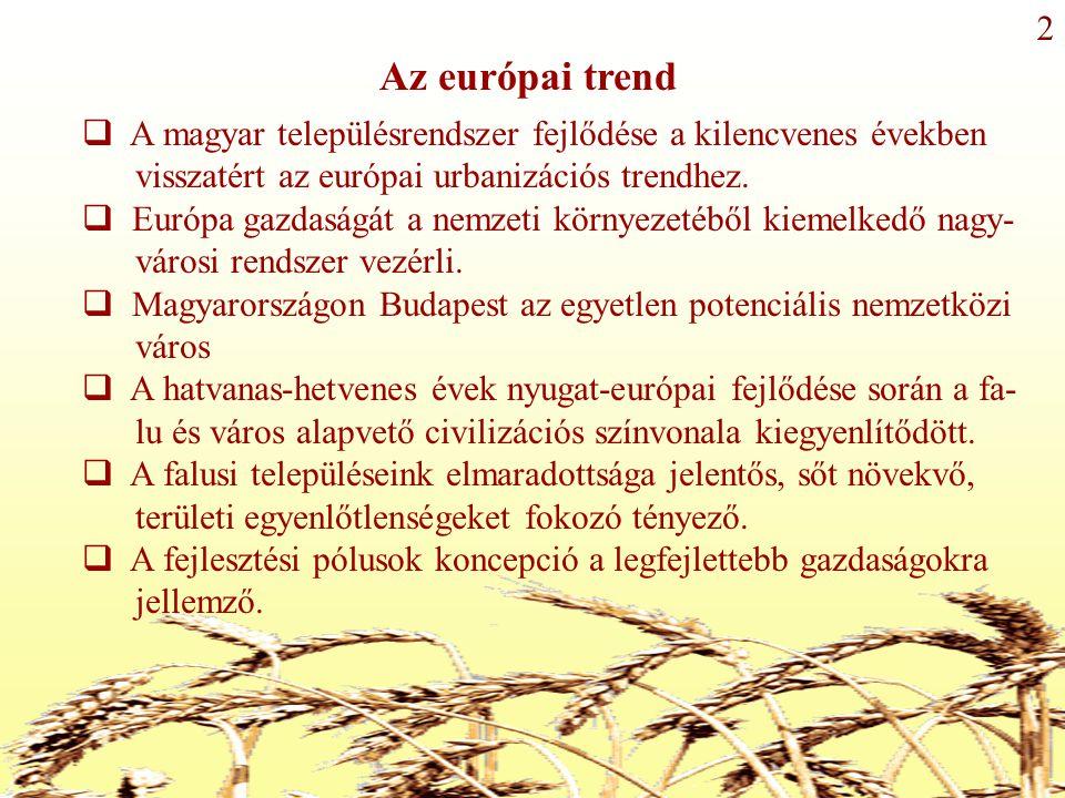 Az európai trend  A magyar településrendszer fejlődése a kilencvenes években visszatért az európai urbanizációs trendhez.
