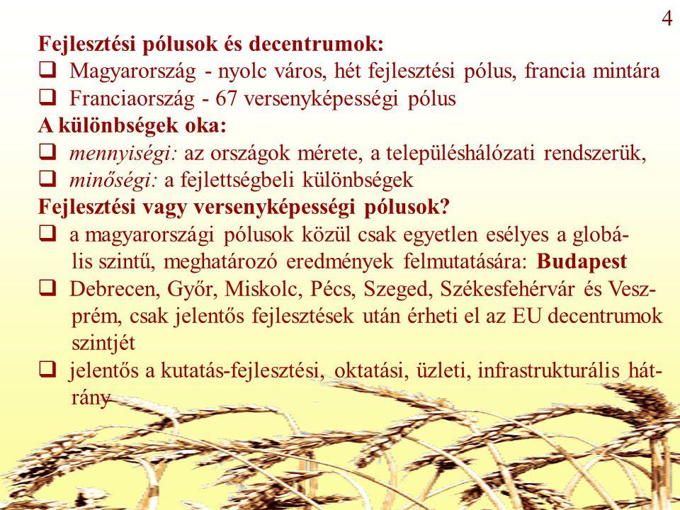 Fejlesztési pólusok és decentrumok:  Magyarország - nyolc város, hét fejlesztési pólus, francia mintára  Franciaország - 67 versenyképességi pólus A különbségek oka:  mennyiségi: az országok mérete, a településhálózati rendszerük,  minőségi: a fejlettségbeli különbségek Fejlesztési vagy versenyképességi pólusok.