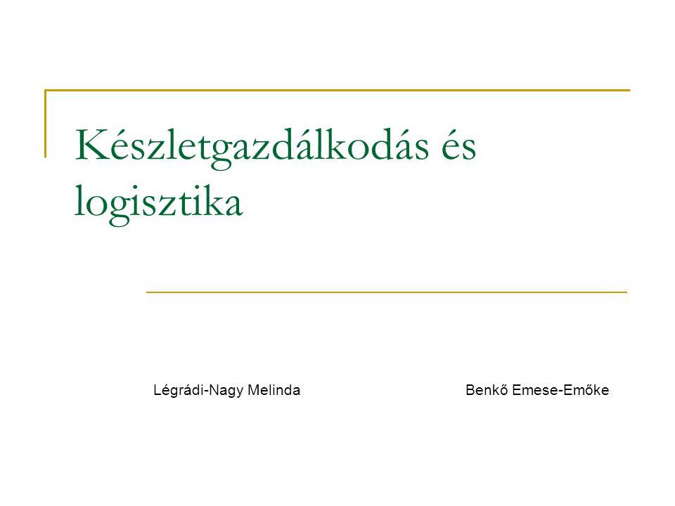 Készletgazdálkodás és logisztika Légrádi-Nagy Melinda Benkő Emese-Emőke