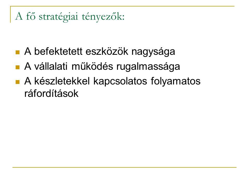 A fő stratégiai tényezők: A befektetett eszközök nagysága A vállalati működés rugalmassága A készletekkel kapcsolatos folyamatos ráfordítások