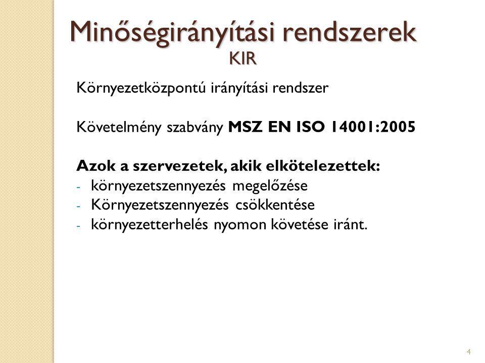 5 Munkahelyi egészségvédelmi és biztonsági irányítási rendszer Követelmény szabvány MSZ 28001:2008 Minőségirányítási rendszerek MEBIR