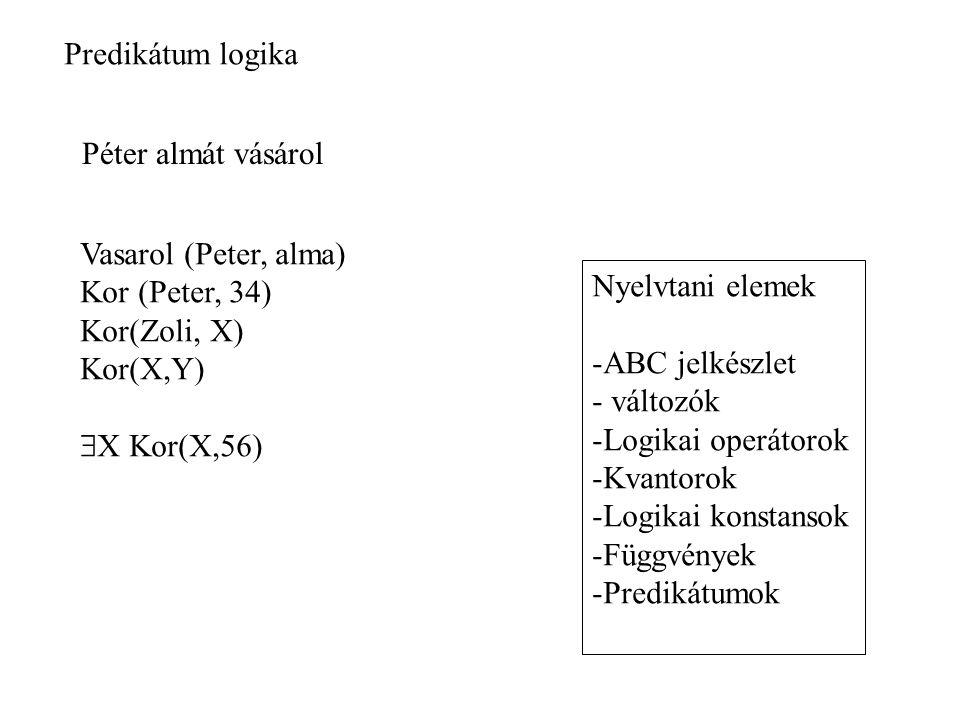 Péter almát vásárol Vasarol (Peter, alma) Kor (Peter, 34) Kor(Zoli, X) Kor(X,Y)  X Kor(X,56) Nyelvtani elemek -ABC jelkészlet - változók -Logikai operátorok -Kvantorok -Logikai konstansok -Függvények -Predikátumok