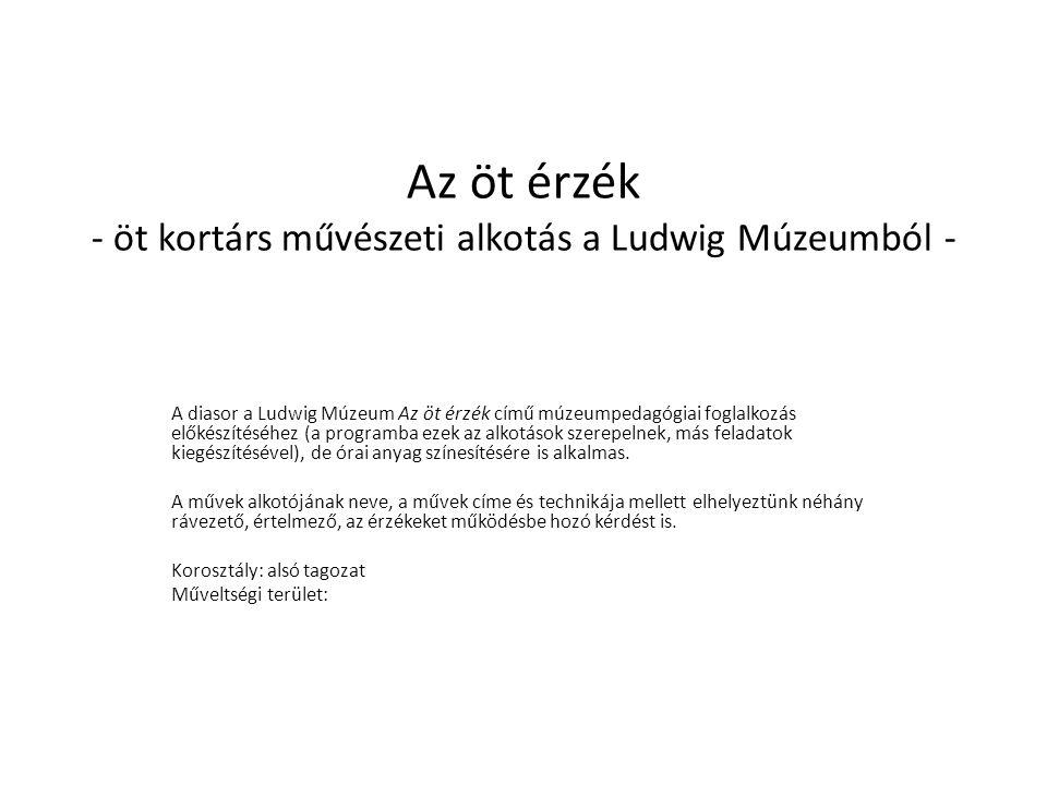 Az öt érzék - öt kortárs művészeti alkotás a Ludwig Múzeumból - A diasor a Ludwig Múzeum Az öt érzék című múzeumpedagógiai foglalkozás előkészítéséhez (a programba ezek az alkotások szerepelnek, más feladatok kiegészítésével), de órai anyag színesítésére is alkalmas.