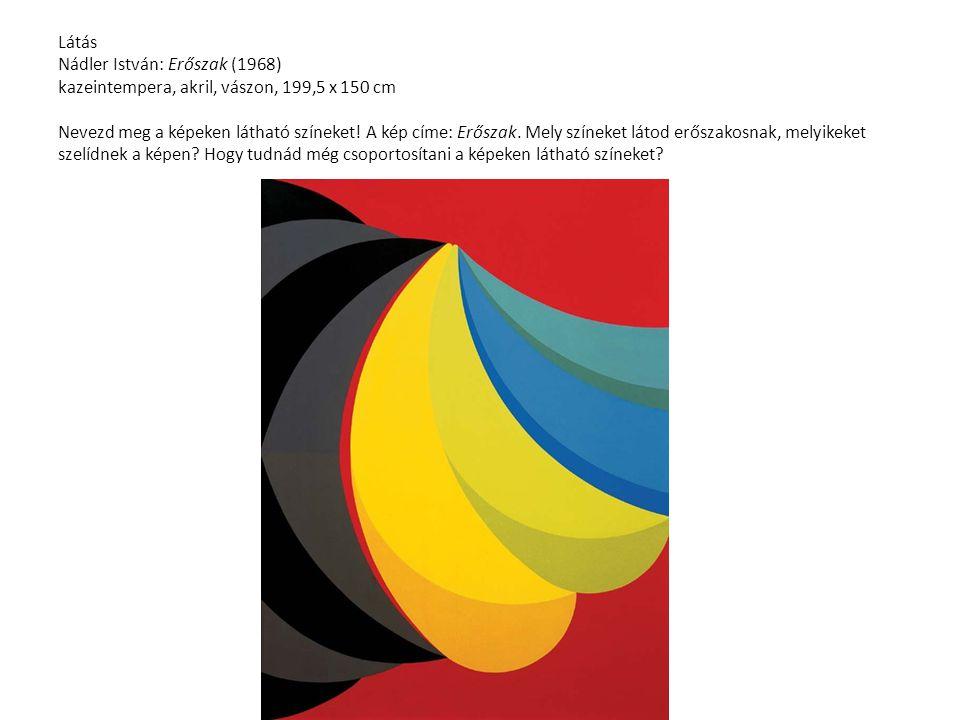 Látás Nádler István: Erőszak (1968) kazeintempera, akril, vászon, 199,5 x 150 cm Nevezd meg a képeken látható színeket.