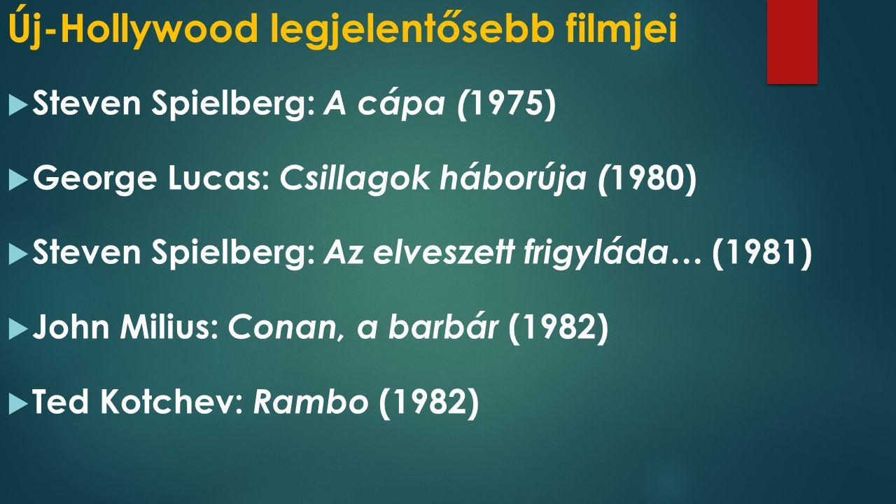 Új-Hollywood legjelentősebb filmjei  Steven Spielberg: A cápa ( 1975)  George Lucas: Csillagok háborúja ( 1980)  Steven Spielberg: Az elveszett frigyláda… (1981)  John Milius: Conan, a barbár (1982)  Ted Kotchev: Rambo (1982)
