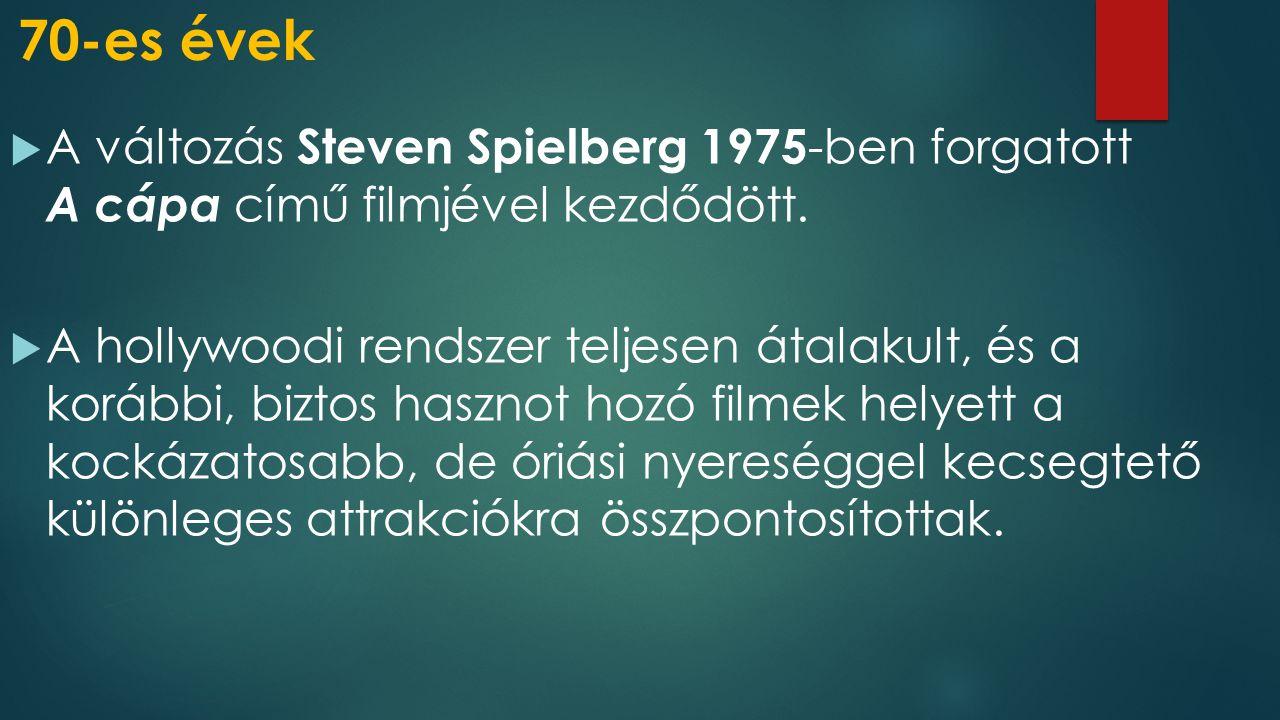 70-es évek  A változás Steven Spielberg 1975 -ben forgatott A cápa című filmjével kezdődött.