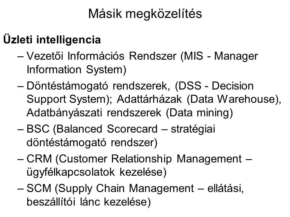 Másik megközelítés Üzleti intelligencia –Vezetői Információs Rendszer (MIS - Manager Information System) –Döntéstámogató rendszerek, (DSS - Decision S