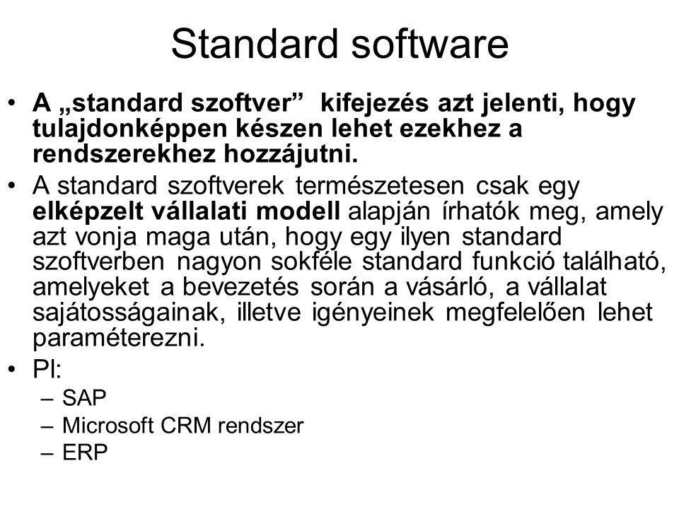 """Standard software A """"standard szoftver"""" kifejezés azt jelenti, hogy tulajdonképpen készen lehet ezekhez a rendszerekhez hozzájutni. A standard szoftve"""