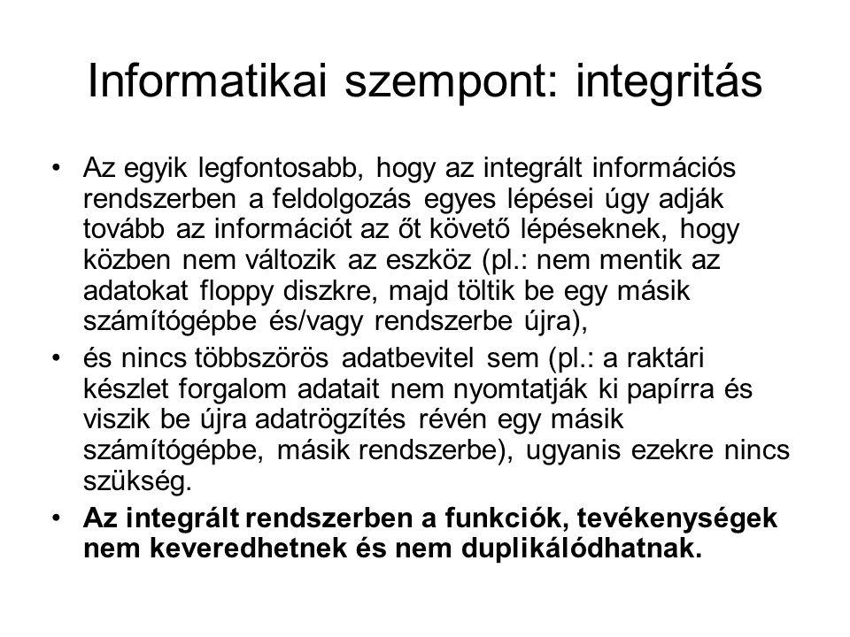 Informatikai szempont: integritás Az egyik legfontosabb, hogy az integrált információs rendszerben a feldolgozás egyes lépései úgy adják tovább az inf