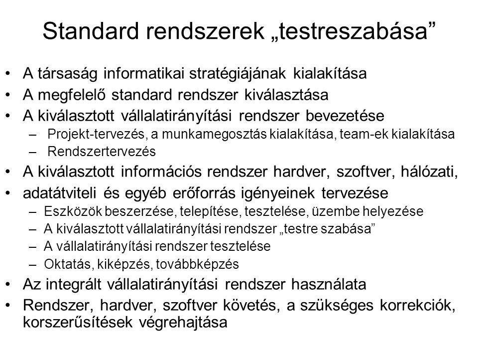 """Standard rendszerek """"testreszabása"""" A társaság informatikai stratégiájának kialakítása A megfelelő standard rendszer kiválasztása A kiválasztott válla"""