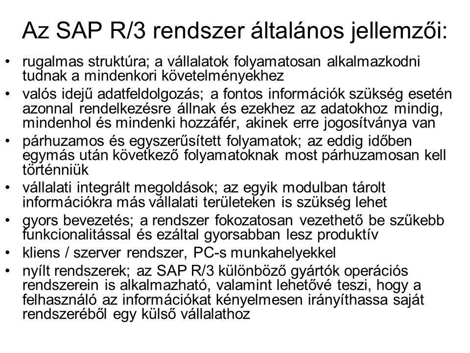 Az SAP R/3 rendszer általános jellemzői: rugalmas struktúra; a vállalatok folyamatosan alkalmazkodni tudnak a mindenkori követelményekhez valós idejű