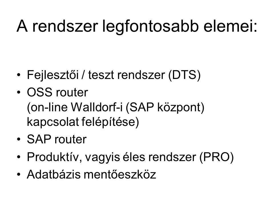 A rendszer legfontosabb elemei: Fejlesztői / teszt rendszer (DTS) OSS router (on-line Walldorf-i (SAP központ) kapcsolat felépítése) SAP router Produk