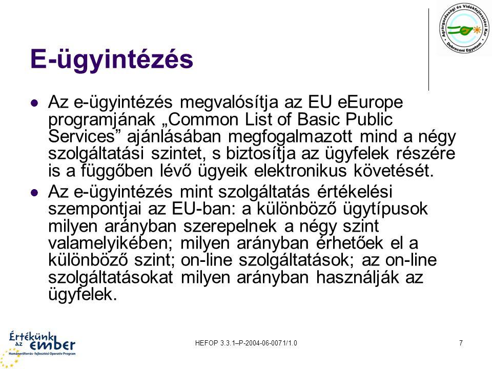 """HEFOP 3.3.1–P-2004-06-0071/1.07 E-ügyintézés Az e-ügyintézés megvalósítja az EU eEurope programjának """"Common List of Basic Public Services ajánlásában megfogalmazott mind a négy szolgáltatási szintet, s biztosítja az ügyfelek részére is a függőben lévő ügyeik elektronikus követését."""