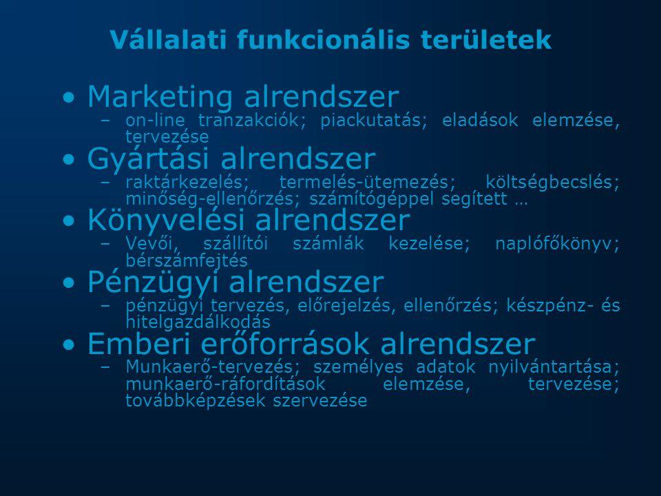 Vállalati funkcionális területek Marketing alrendszer –on-line tranzakciók; piackutatás; eladások elemzése, tervezése Gyártási alrendszer –raktárkezelés; termelés-ütemezés; költségbecslés; minőség-ellenőrzés; számítógéppel segített … Könyvelési alrendszer –Vevői, szállítói számlák kezelése; naplófőkönyv; bérszámfejtés Pénzügyi alrendszer –pénzügyi tervezés, előrejelzés, ellenőrzés; készpénz- és hitelgazdálkodás Emberi erőforrások alrendszer –Munkaerő-tervezés; személyes adatok nyilvántartása; munkaerő-ráfordítások elemzése, tervezése; továbbképzések szervezése