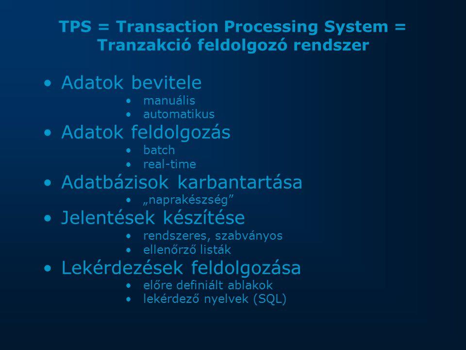 """TPS = Transaction Processing System = Tranzakció feldolgozó rendszer Adatok bevitele manuális automatikus Adatok feldolgozás batch real-time Adatbázisok karbantartása """"naprakészség Jelentések készítése rendszeres, szabványos ellenőrző listák Lekérdezések feldolgozása előre definiált ablakok lekérdező nyelvek (SQL)"""