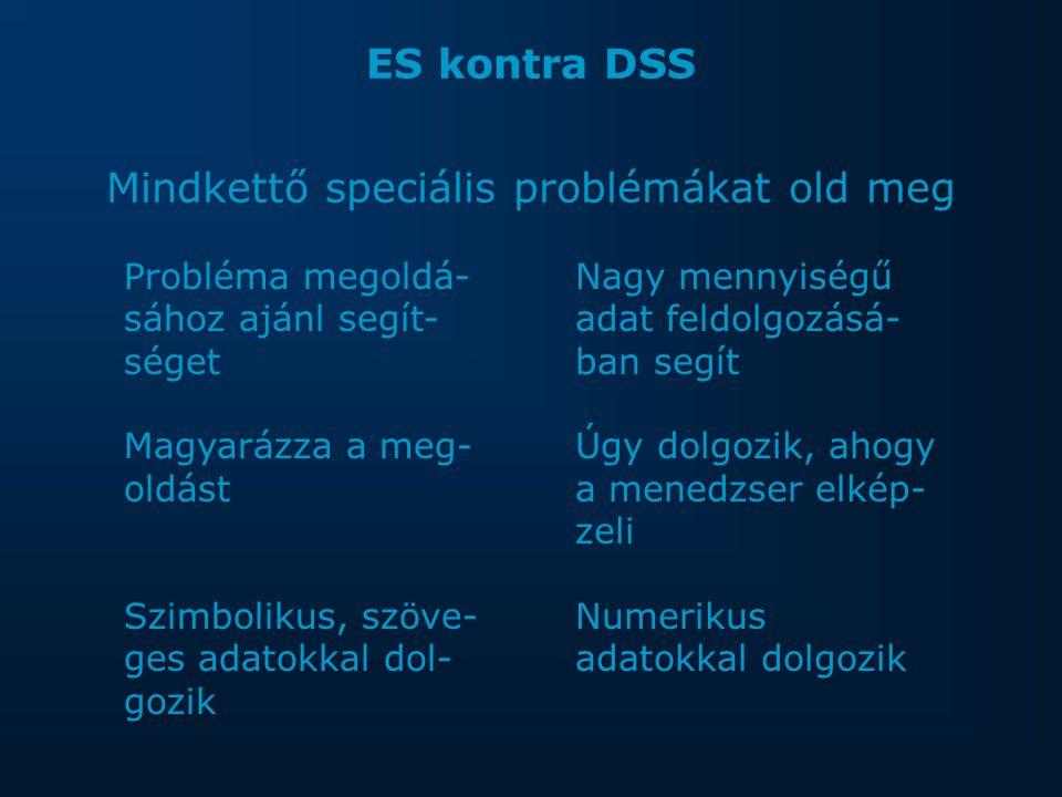 ES kontra DSS Mindkettő speciális problémákat old meg Probléma megoldá- sához ajánl segít- séget Magyarázza a meg- oldást Szimbolikus, szöve- ges adatokkal dol- gozik Nagy mennyiségű adat feldolgozásá- ban segít Úgy dolgozik, ahogy a menedzser elkép- zeli Numerikus adatokkal dolgozik
