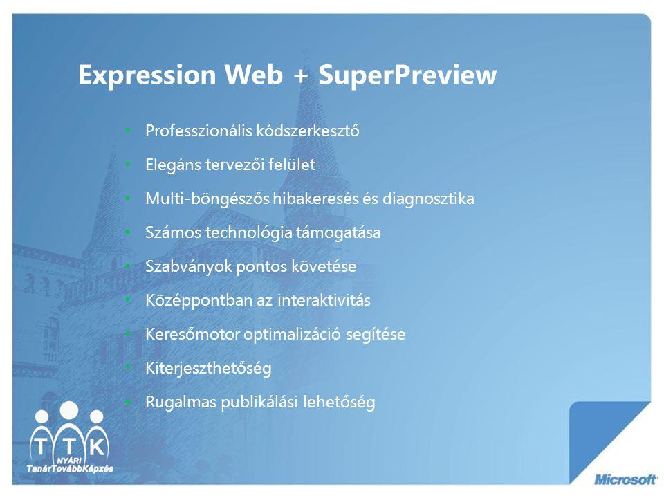 Expression Web + SuperPreview Professzionális kódszerkesztő Elegáns tervezői felület Multi-böngészős hibakeresés és diagnosztika Számos technológia támogatása Szabványok pontos követése Középpontban az interaktivitás Keresőmotor optimalizáció segítése Kiterjeszthetőség Rugalmas publikálási lehetőség