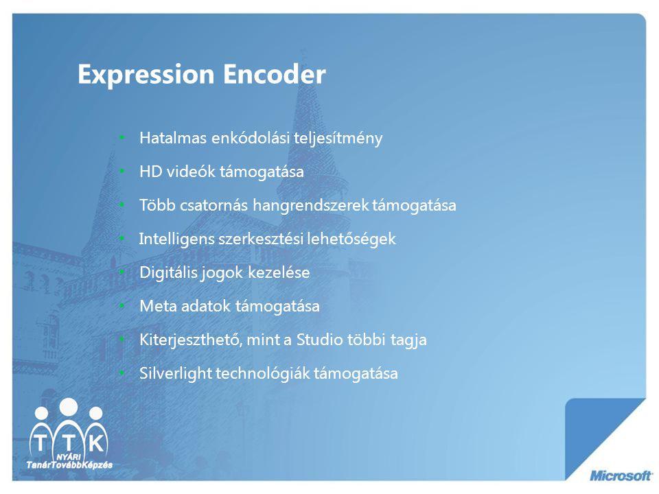 Expression Encoder Hatalmas enkódolási teljesítmény HD videók támogatása Több csatornás hangrendszerek támogatása Intelligens szerkesztési lehetőségek Digitális jogok kezelése Meta adatok támogatása Kiterjeszthető, mint a Studio többi tagja Silverlight technológiák támogatása