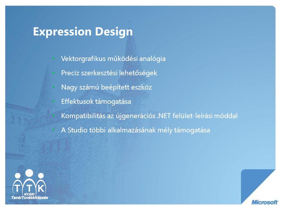 Expression Design Vektorgrafikus működési analógia Precíz szerkesztési lehetőségek Nagy számú beépített eszköz Effektusok támogatása Kompatibilitás az újgenerációs.NET felület-leírási móddal A Studio többi alkalmazásának mély támogatása
