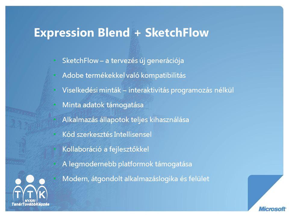Expression Blend + SketchFlow SketchFlow – a tervezés új generációja Adobe termékekkel való kompatibilitás Viselkedési minták – interaktivitás programozás nélkül Minta adatok támogatása Alkalmazás állapotok teljes kihasználása Kód szerkesztés Intellisensel Kollaboráció a fejlesztőkkel A legmodernebb platformok támogatása Modern, átgondolt alkalmazáslogika és felület