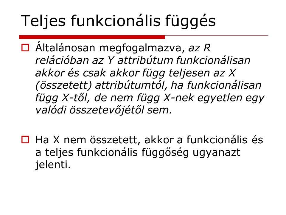 Teljes funkcionális függés  Általánosan megfogalmazva, az R relációban az Y attribútum funkcionálisan akkor és csak akkor függ teljesen az X (összete