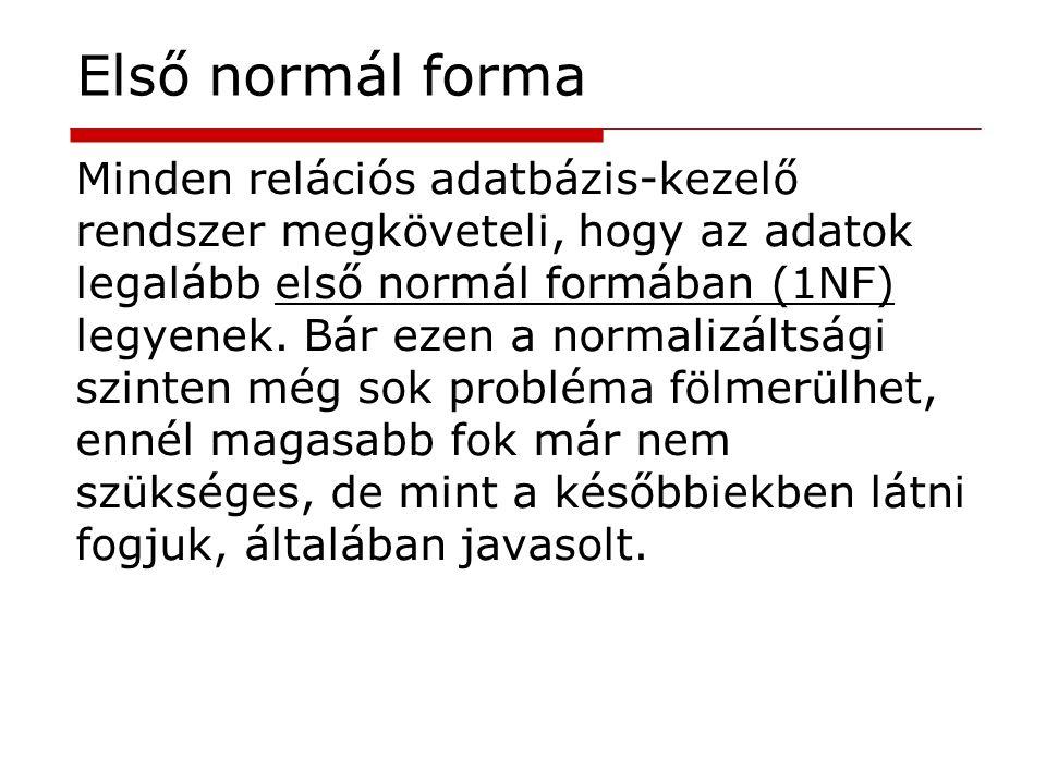 Minden relációs adatbázis-kezelő rendszer megköveteli, hogy az adatok legalább első normál formában (1NF) legyenek. Bár ezen a normalizáltsági szinten