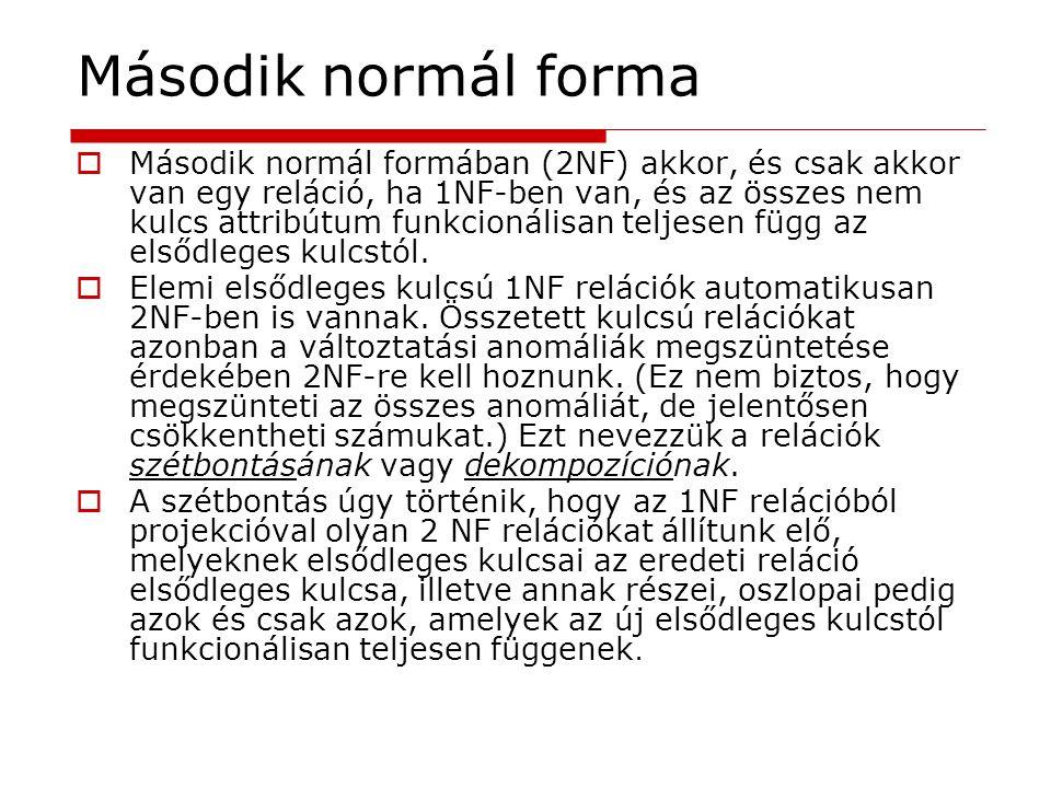 Második normál forma  Második normál formában (2NF) akkor, és csak akkor van egy reláció, ha 1NF-ben van, és az összes nem kulcs attribútum funkcioná