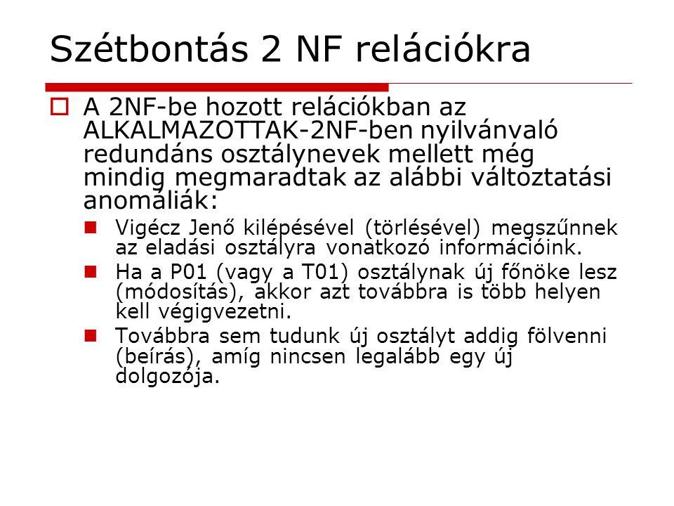  A 2NF-be hozott relációkban az ALKALMAZOTTAK-2NF-ben nyilvánvaló redundáns osztálynevek mellett még mindig megmaradtak az alábbi változtatási anomál