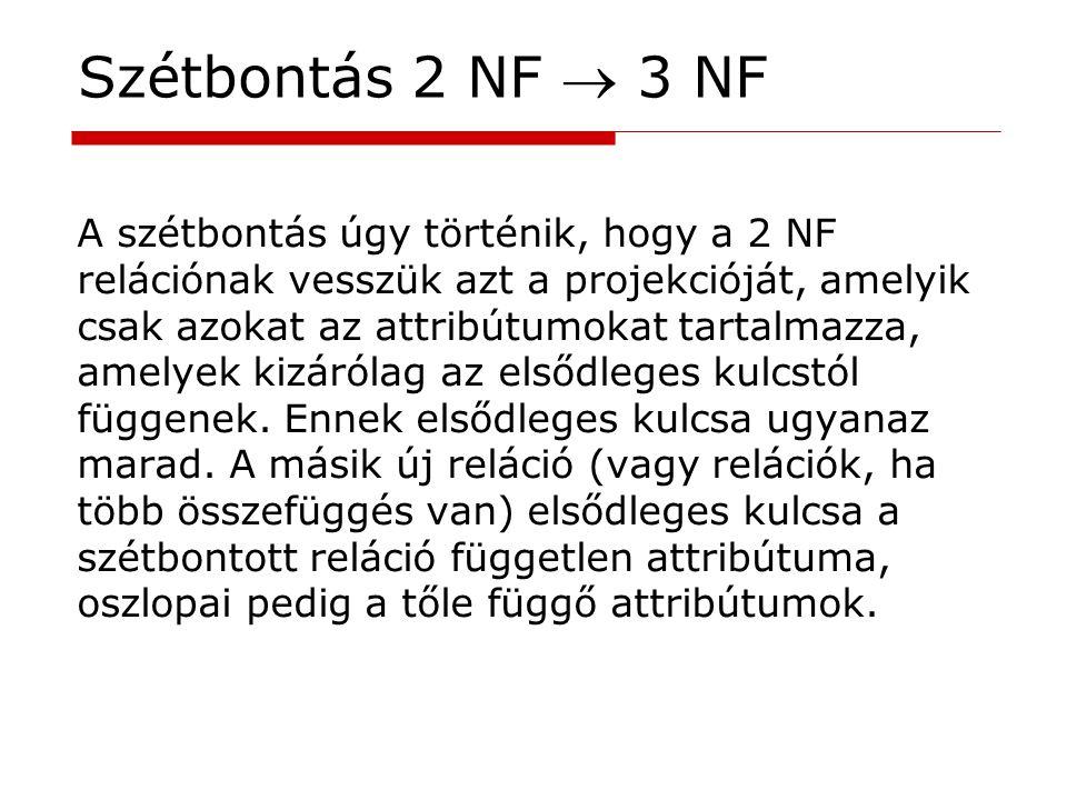 Szétbontás 2 NF  3 NF A szétbontás úgy történik, hogy a 2 NF relációnak vesszük azt a projekcióját, amelyik csak azokat az attribútumokat tartalmazza