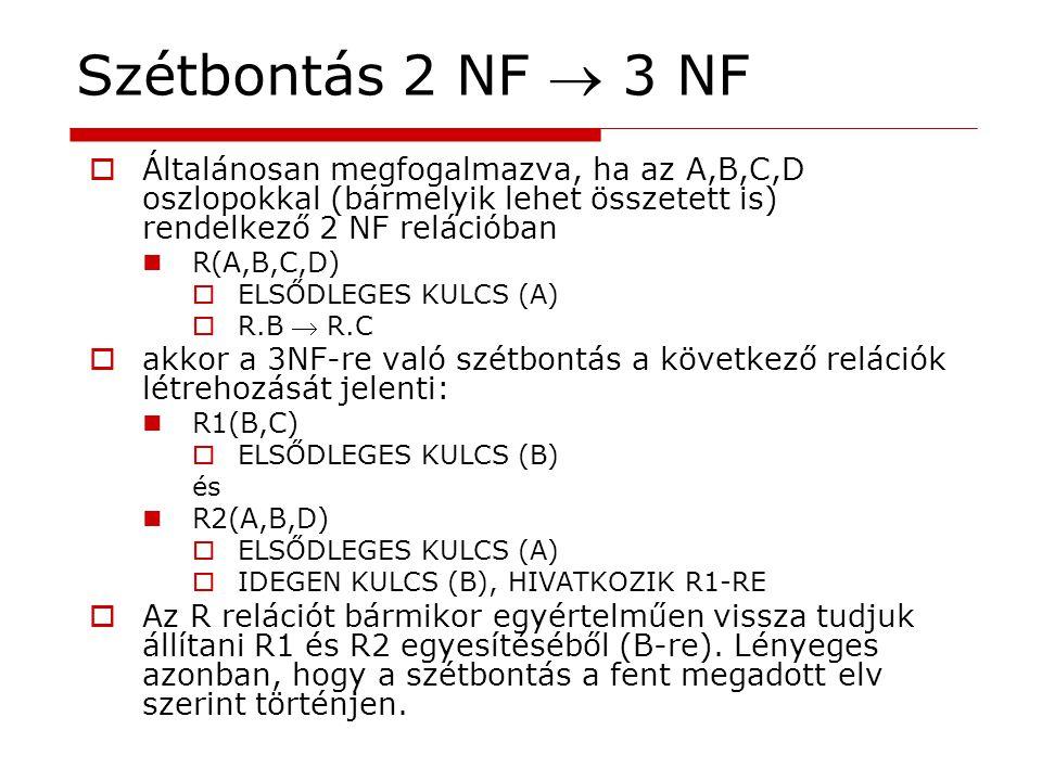  Általánosan megfogalmazva, ha az A,B,C,D oszlopokkal (bármelyik lehet összetett is) rendelkező 2 NF relációban R(A,B,C,D)  ELSŐDLEGES KULCS (A)  R