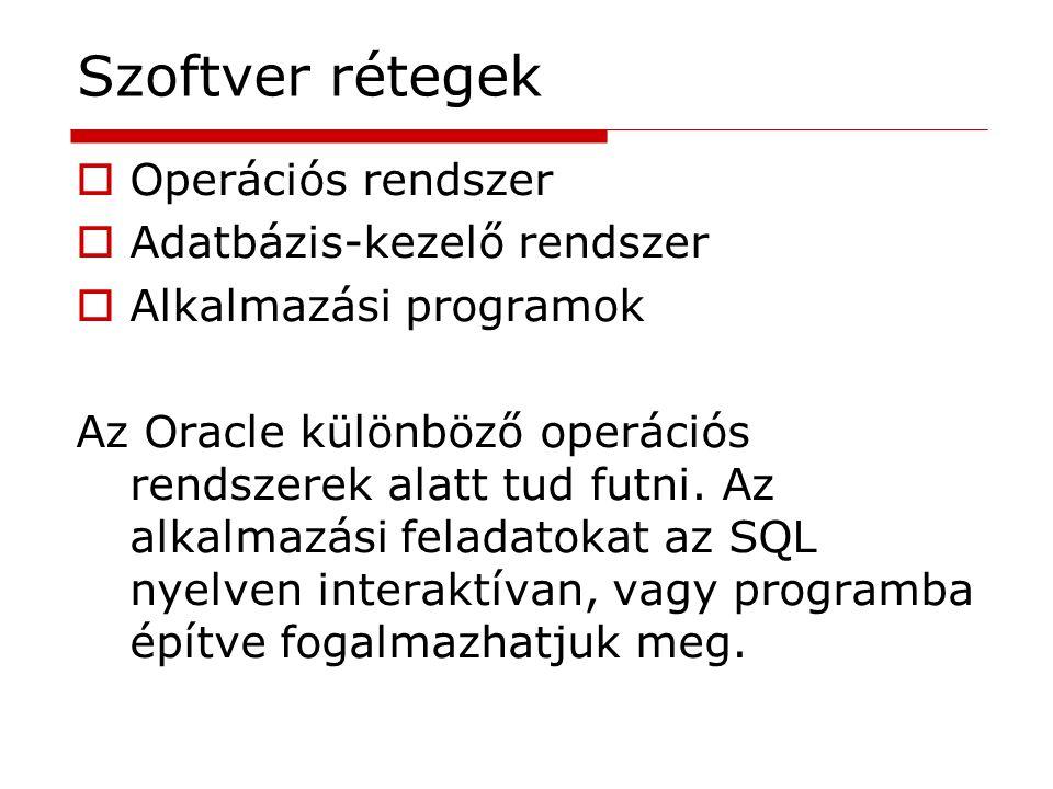 Szoftver rétegek  Operációs rendszer  Adatbázis-kezelő rendszer  Alkalmazási programok Az Oracle különböző operációs rendszerek alatt tud futni. Az