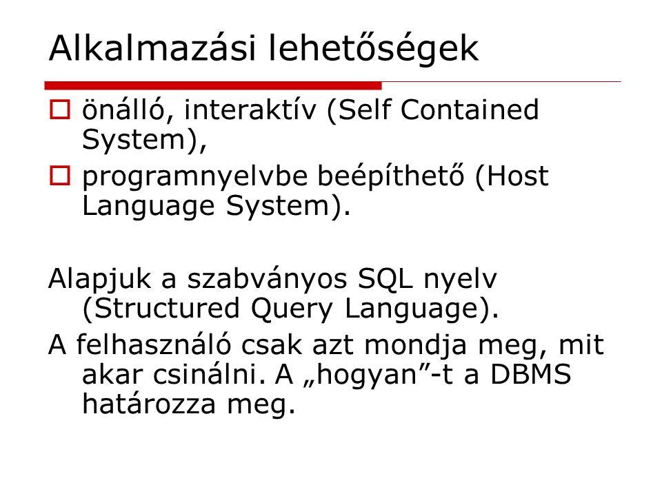Alkalmazási lehetőségek  önálló, interaktív (Self Contained System),  programnyelvbe beépíthető (Host Language System). Alapjuk a szabványos SQL nye