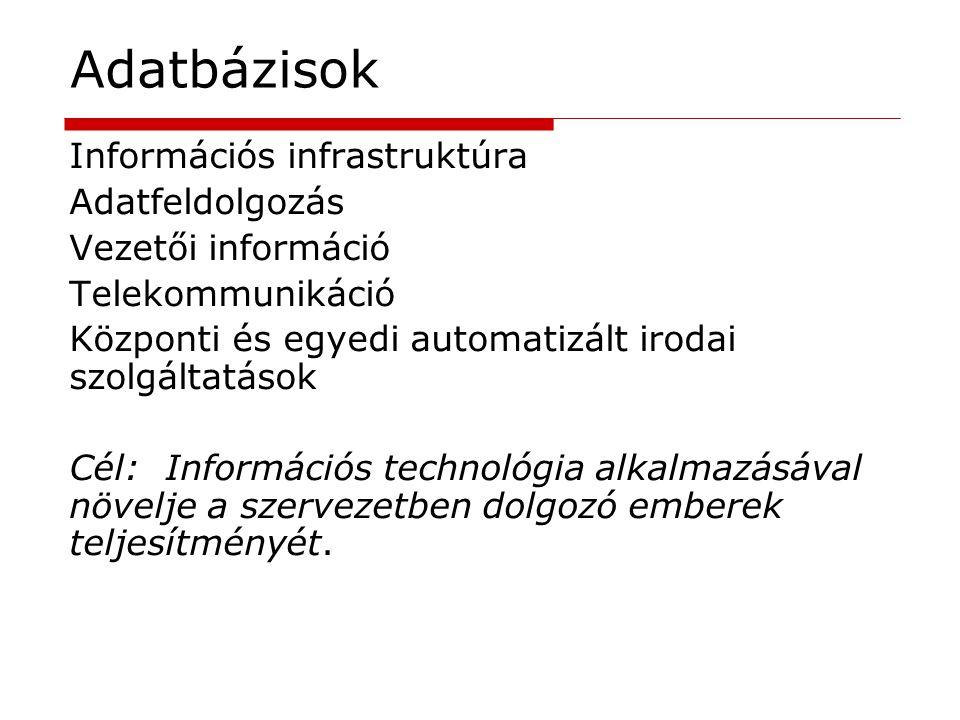 Adatbázisok Információs infrastruktúra Adatfeldolgozás Vezetői információ Telekommunikáció Központi és egyedi automatizált irodai szolgáltatások Cél:I
