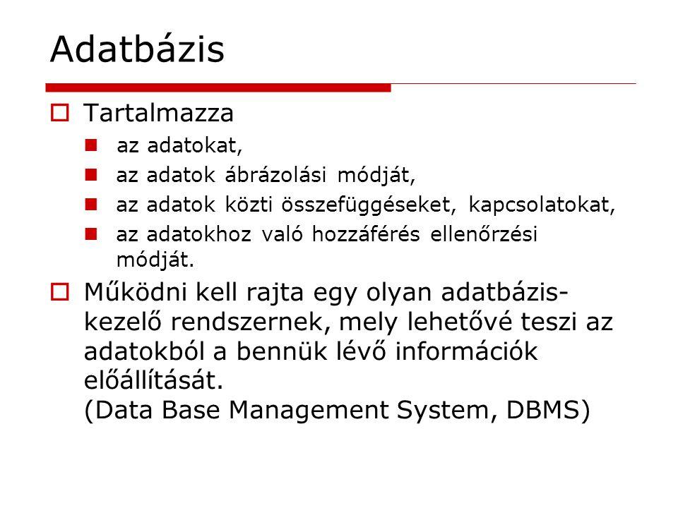 Adatbázis  Két főtípusuk: Tény adatbázis Szöveges információ visszakereső rendszerek.