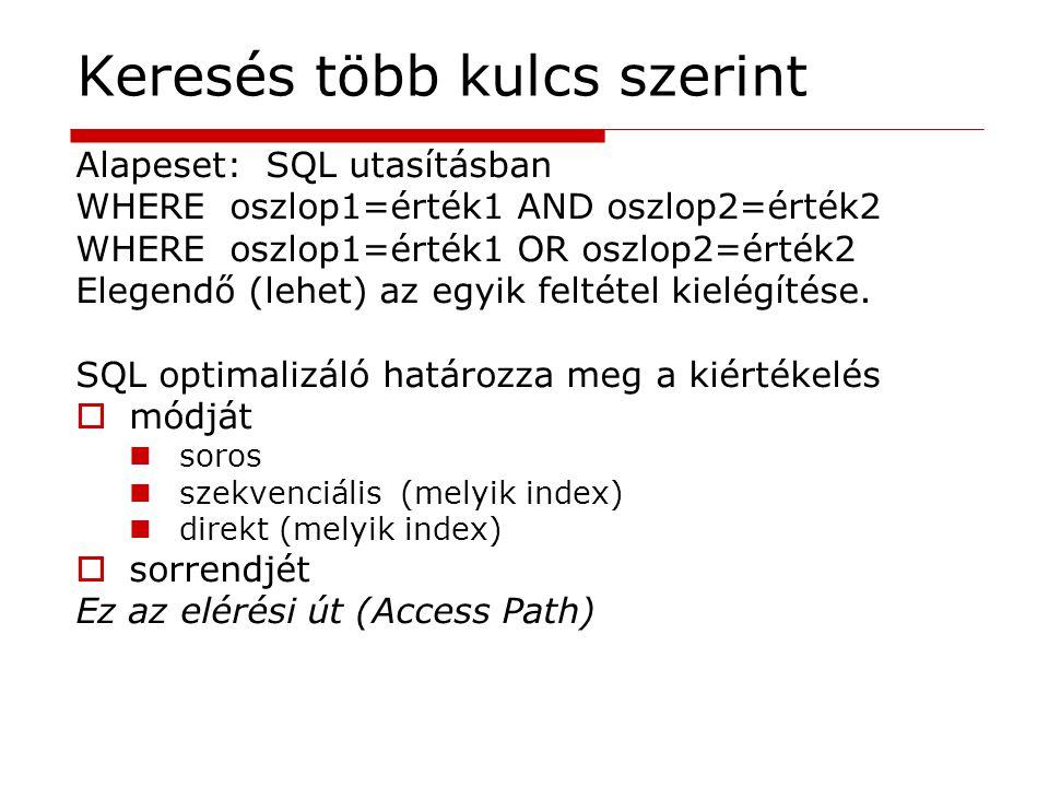 Keresés több kulcs szerint Alapeset: SQL utasításban WHERE oszlop1=érték1 AND oszlop2=érték2 WHERE oszlop1=érték1 OR oszlop2=érték2 Elegendő (lehet) a