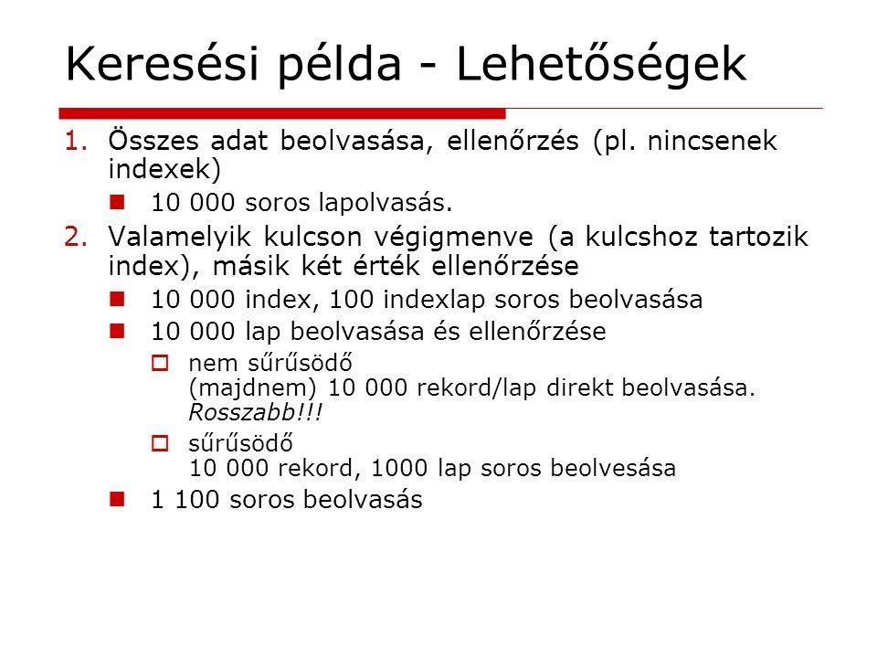 1.Összes adat beolvasása, ellenőrzés (pl. nincsenek indexek) 10 000 soros lapolvasás. 2.Valamelyik kulcson végigmenve (a kulcshoz tartozik index), más