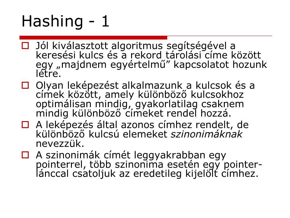 """Hashing - 1  Jól kiválasztott algoritmus segítségével a keresési kulcs és a rekord tárolási címe között egy """"majdnem egyértelmű"""" kapcsolatot hozunk l"""