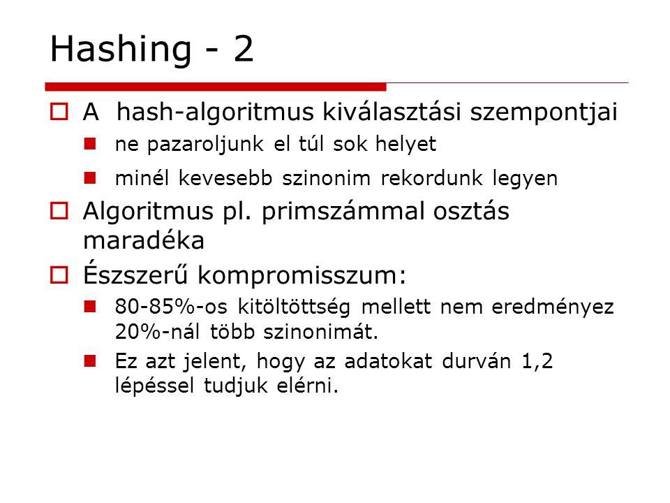 Hashing - 2  A hash-algoritmus kiválasztási szempontjai ne pazaroljunk el túl sok helyet minél kevesebb szinonim rekordunk legyen  Algoritmus pl. pr