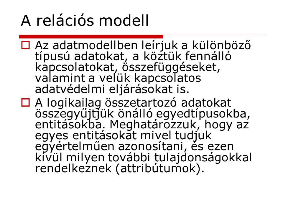 A relációs modell  Az adatmodellben leírjuk a különböző típusú adatokat, a köztük fennálló kapcsolatokat, összefüggéseket, valamint a velük kapcsolat