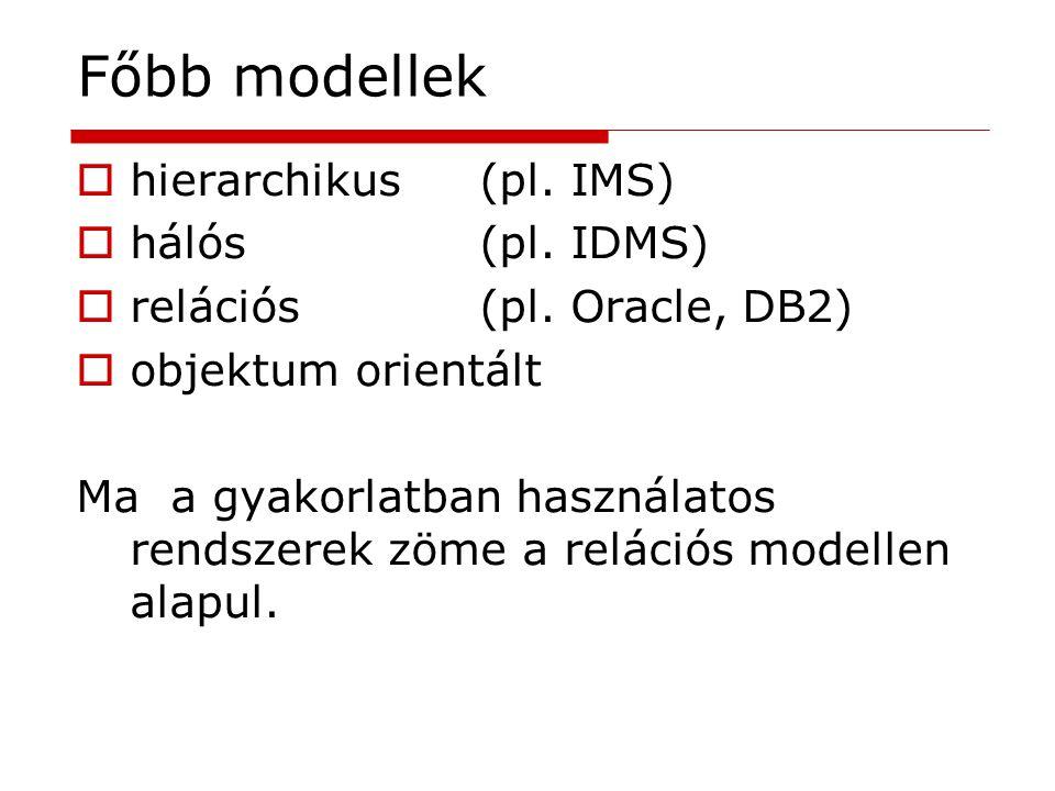 Főbb modellek  hierarchikus(pl. IMS)  hálós(pl. IDMS)  relációs(pl. Oracle, DB2)  objektum orientált Ma a gyakorlatban használatos rendszerek zöme