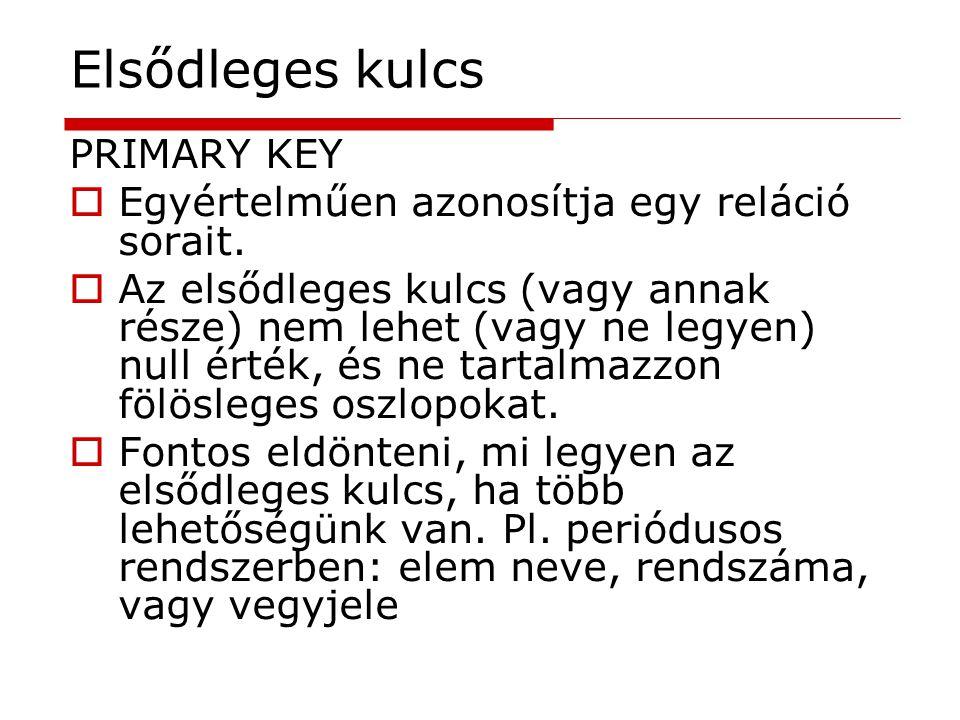 Elsődleges kulcs PRIMARY KEY  Egyértelműen azonosítja egy reláció sorait.  Az elsődleges kulcs (vagy annak része) nem lehet (vagy ne legyen) null ér