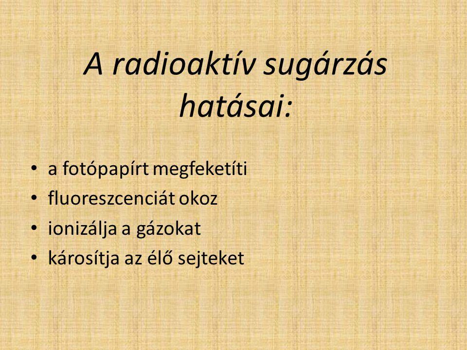 A radioaktív sugárzás hatásai: a fotópapírt megfeketíti fluoreszcenciát okoz ionizálja a gázokat károsítja az élő sejteket
