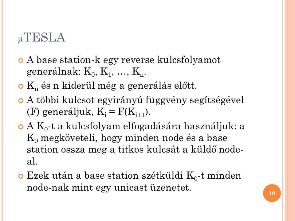 µ TESLA A base station-k egy reverse kulcsfolyamot generálnak: K 0, K 1, …, K n. K n és n kiderül még a generálás előtt. A többi kulcsot egyirányú füg