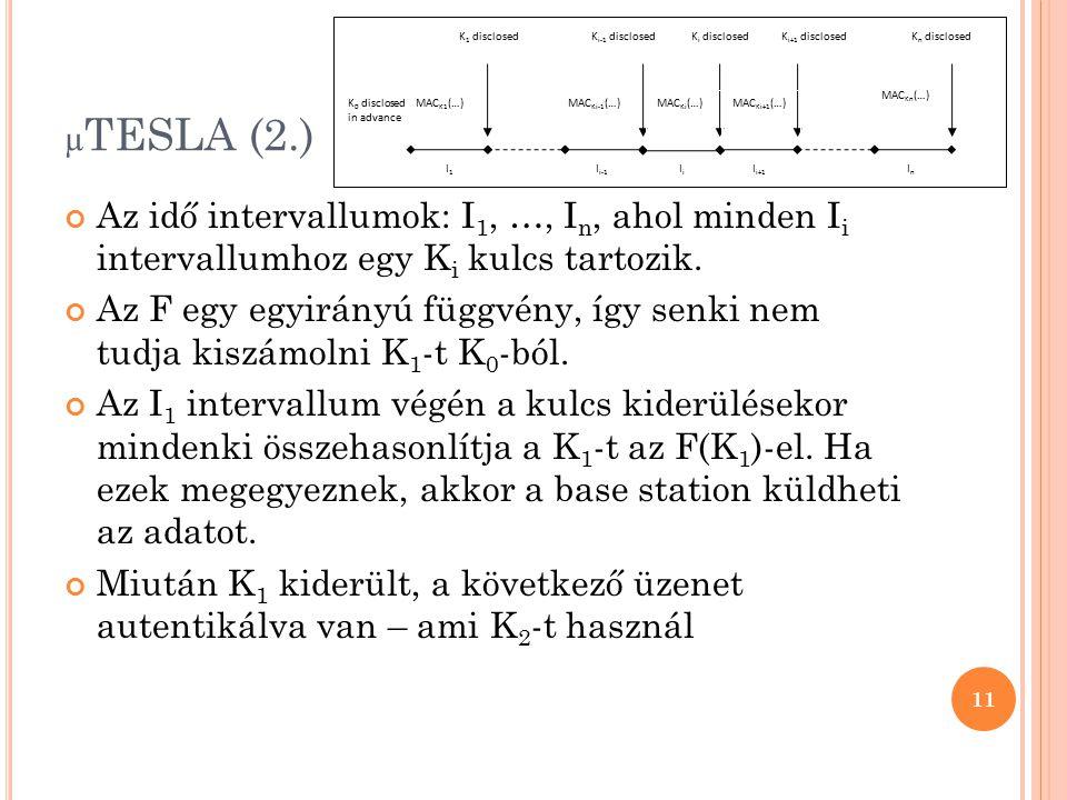 µ TESLA (2.) Az idő intervallumok: I 1, …, I n, ahol minden I i intervallumhoz egy K i kulcs tartozik. Az F egy egyirányú függvény, így senki nem tudj