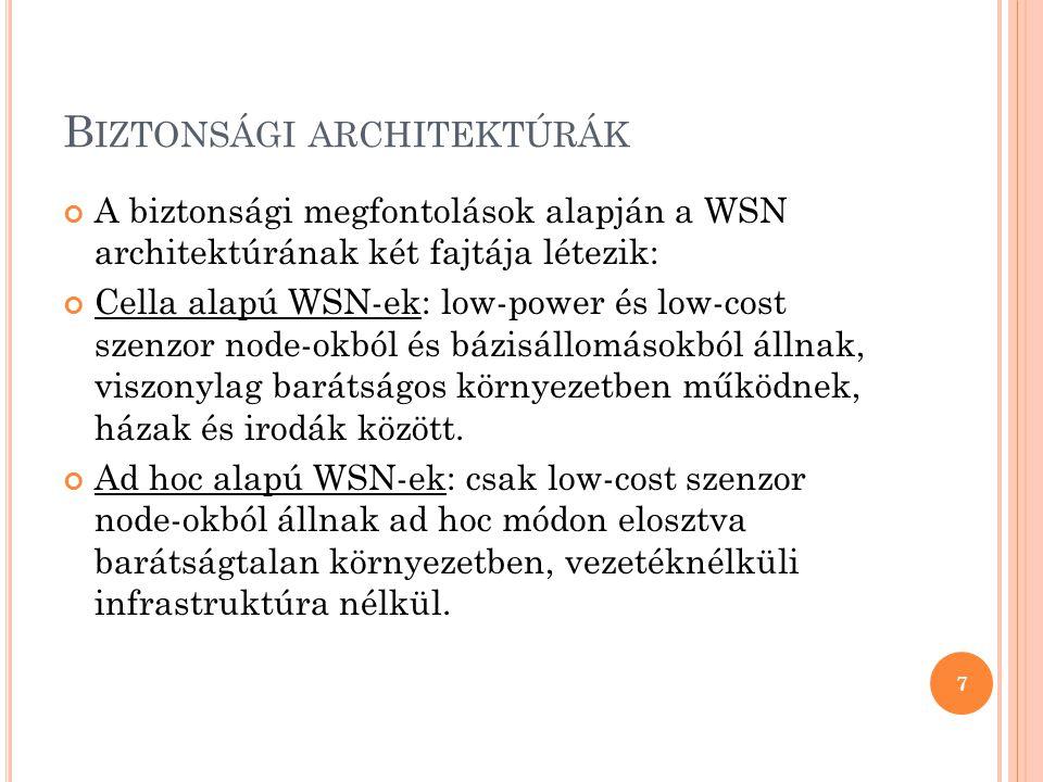 B IZTONSÁGI ARCHITEKTÚRÁK A biztonsági megfontolások alapján a WSN architektúrának két fajtája létezik: Cella alapú WSN-ek: low-power és low-cost szenzor node-okból és bázisállomásokból állnak, viszonylag barátságos környezetben működnek, házak és irodák között.