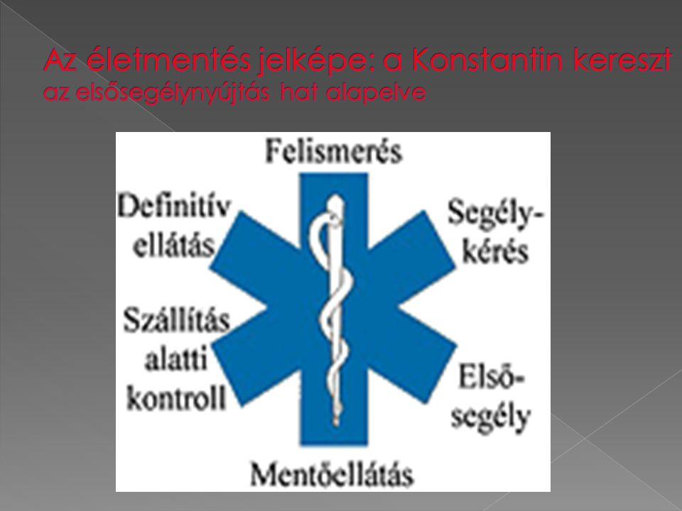  A sürgősségi betegellátás egyes elemeinek ábrázolására - nemzetközileg is elterjedt formában - a Konstantin-kereszt használatos.
