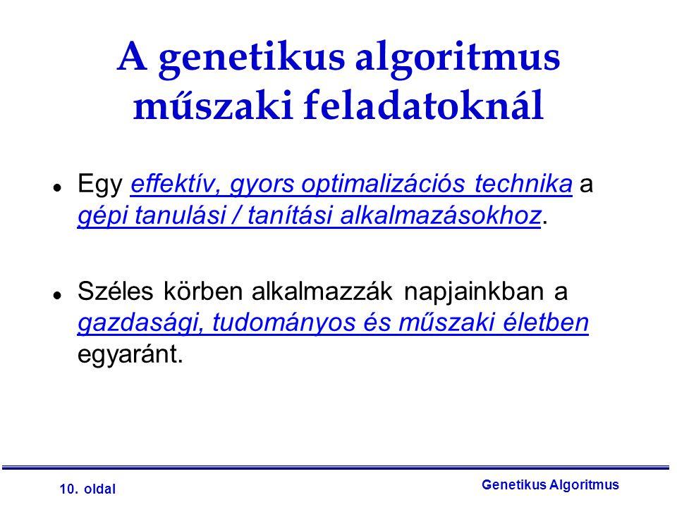 10. oldal Genetikus Algoritmus l Egy effektív, gyors optimalizációs technika a gépi tanulási / tanítási alkalmazásokhoz. l Széles körben alkalmazzák n