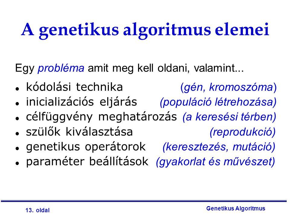 13. oldal Genetikus Algoritmus Egy probléma amit meg kell oldani, valamint... kódolási technika (gén, kromoszóma) inicializációs eljárás (populáció lé