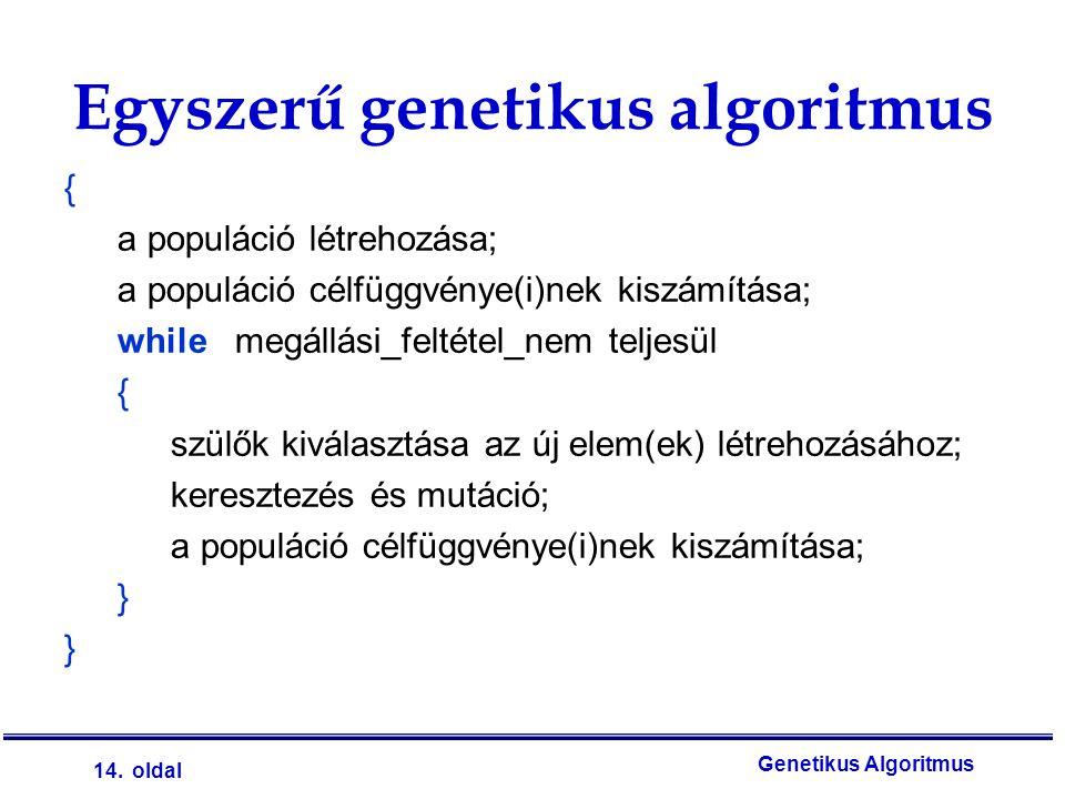 14. oldal Genetikus Algoritmus Egyszerű genetikus algoritmus { a populáció létrehozása; a populáció célfüggvénye(i)nek kiszámítása; while megállási_fe