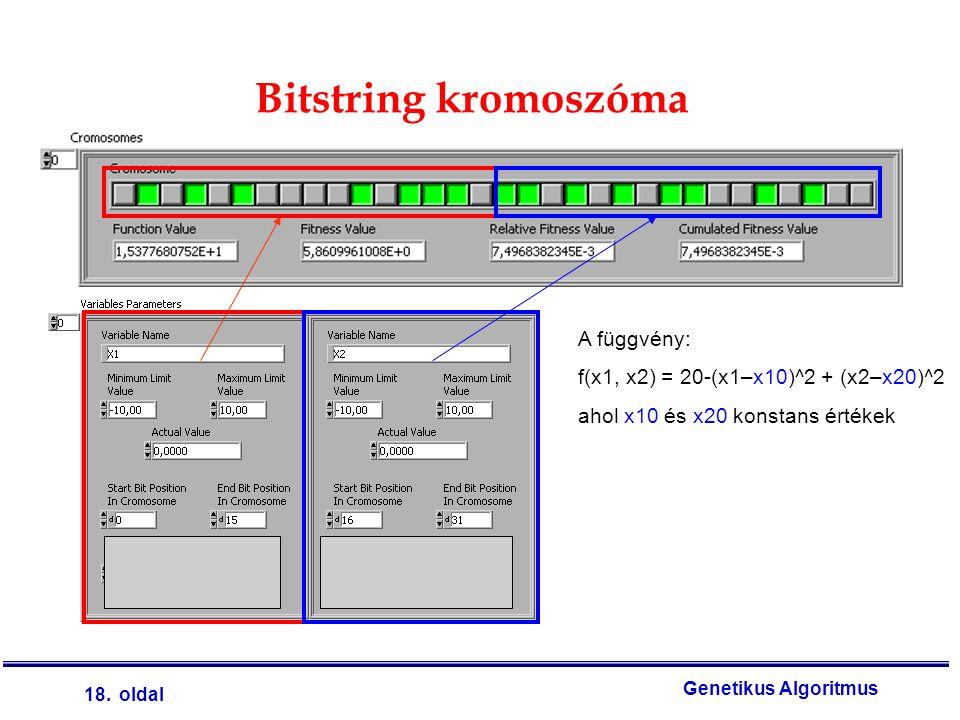 18. oldal Genetikus Algoritmus Bitstring kromoszóma A függvény: f(x1, x2) = 20-(x1–x10)^2 + (x2–x20)^2 ahol x10 és x20 konstans értékek